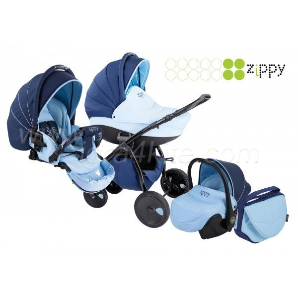 Zippy - Natural бебешка количка 3в1 тъмносиньо/светлосиньо