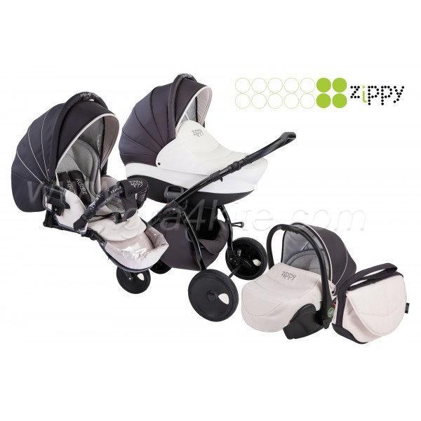 Zippy - Natural бебешка количка 3в1 черно с бяло