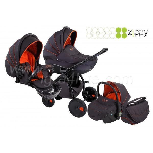 Zippy - Natural бебешка количка 3в1 черно с оранжево