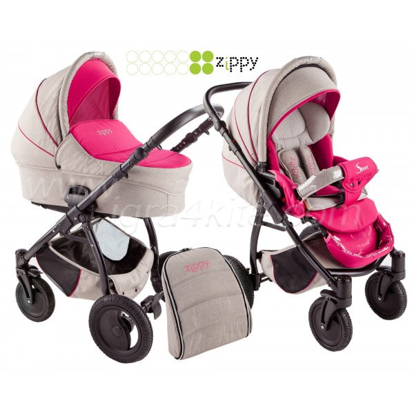 Zippy - Sport бебешка количка 2в1 лен/розово