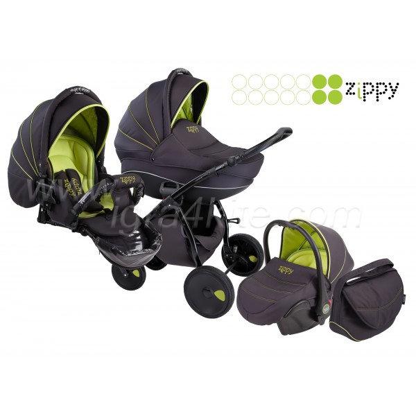 Zippy - Natural бебешка количка 3в1 черно със зелено