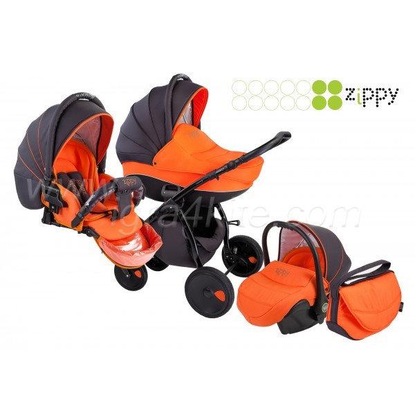 Zippy - Natural бебешка количка 3в1 черно/оранжево