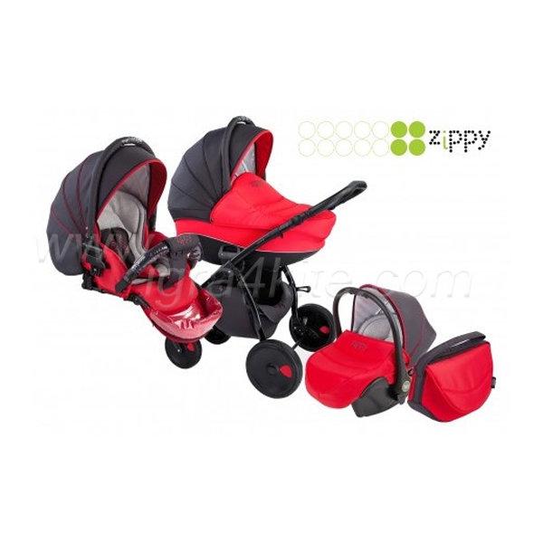 Zippy - Natural бебешка количка 3в1 черно/червено