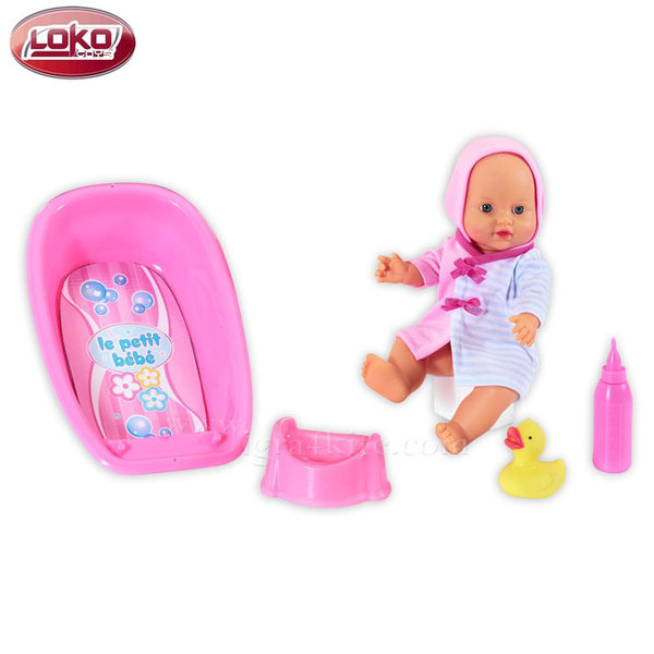 Loko Toys - Пишкаща кукла с вана за къпане LE PETIT BEBE 98413