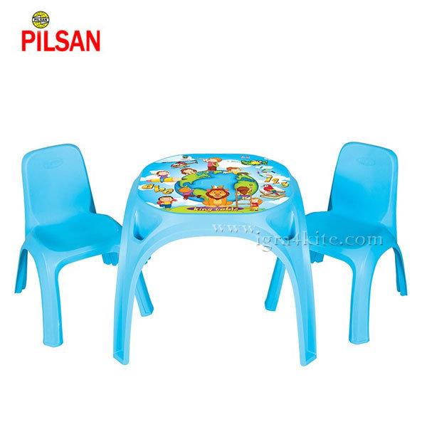 Pilsan - Детска маса с две столчета Кing Синя 03422