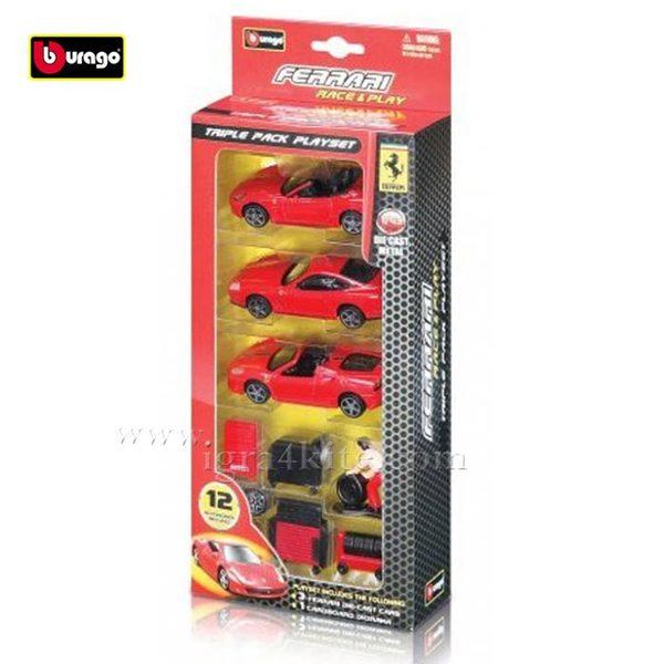 Bburago - Кола 1:43 Ferrari Комплект от 3 колички Ферари 093070