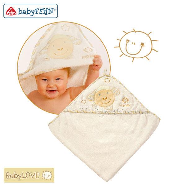 Baby Fehn BabyLove - Бебешка хавлия с качулка Овца 397086