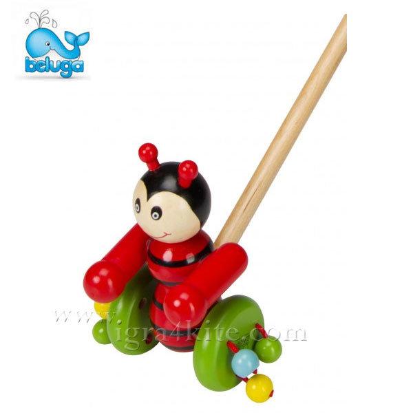 Beluga - Дървена играчка за бутане Калинка 801142
