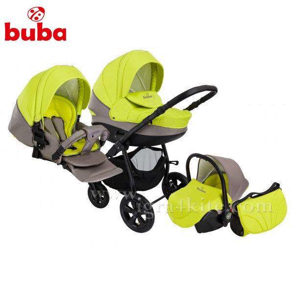 Buba - Бебешка количка City 3в1 сиво/зелено