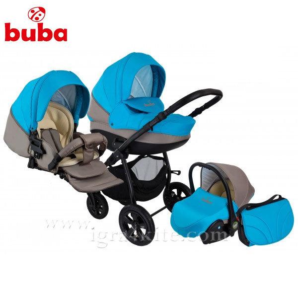 Buba - Бебешка количка City 3в1 сиво/синьо