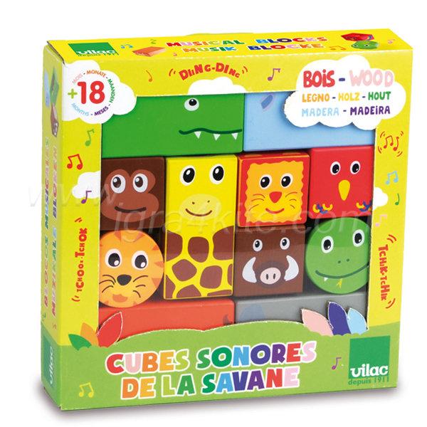 Vilac - Дървени музикални кубчета Савана 2101