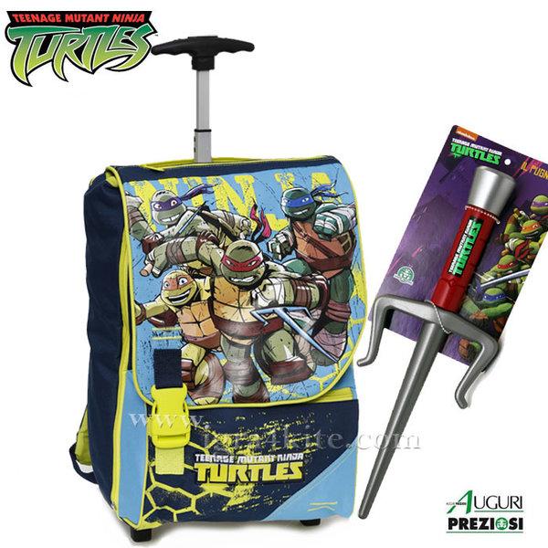 Auguri Preziosi Turtles - Ученическа раница тролей Костенурките нинджа с подарък меч 00369