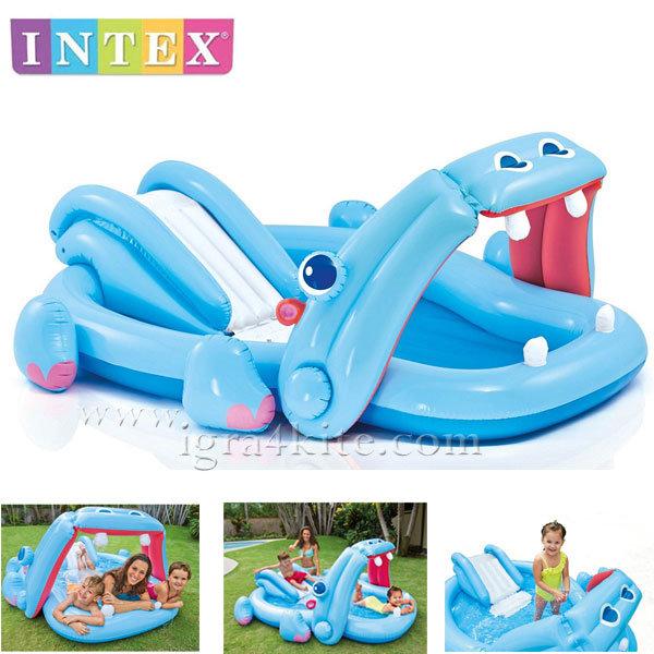 Intex - Детски надуваем център за игра Хипопотам 57150