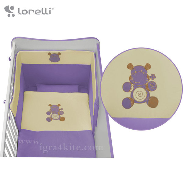 Lorelli - Спален комплект JERSEY Бродерия Виолетово Хипопотамче 20050971304