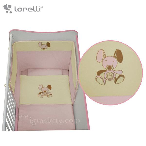 Lorelli - Спален комплект JERSEY Бродерия Розово Зайче 20050971301