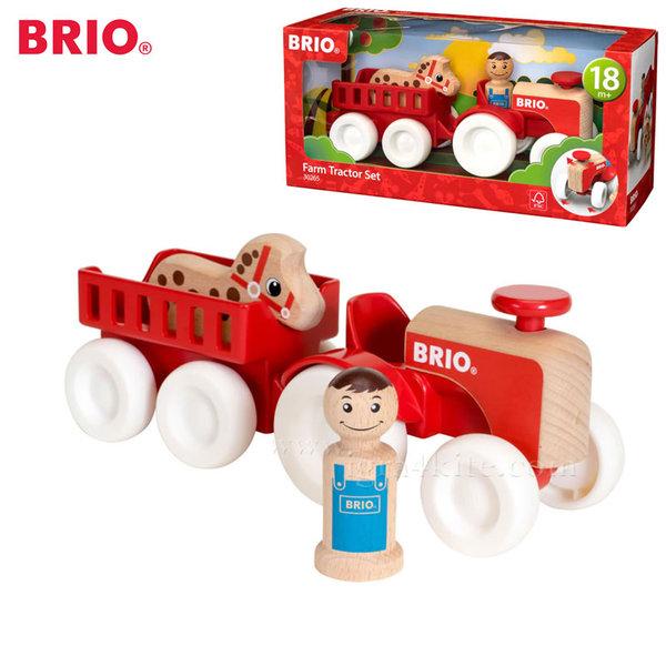 Brio - Дървен трактор с конче 30265