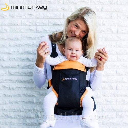MiniMonkey - Ергономична раница кенгуру Dynamic черно и оранжево