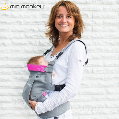 MiniMonkey - Ергономична раница кенгуру Dynamic сиво и розово