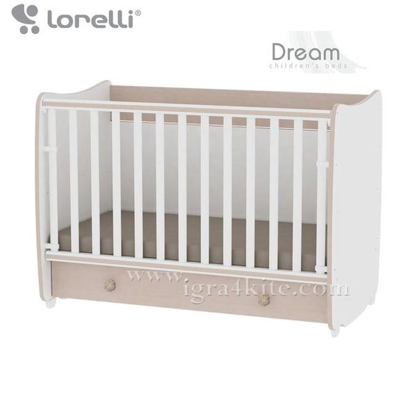 Lorelli - Бебешко легло - люлка Dream 60/120 см. Бяло/Дъб