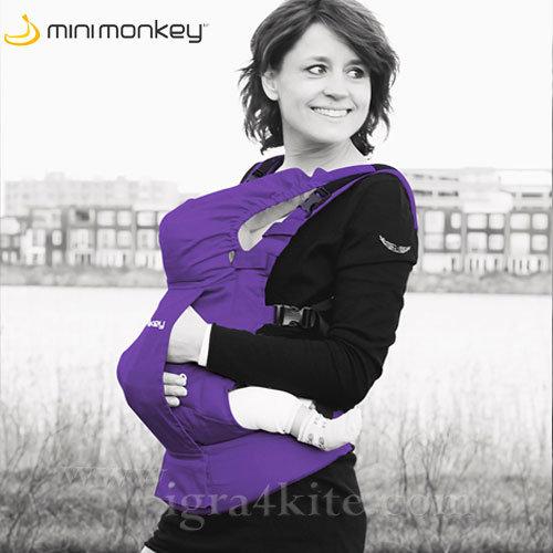 MiniMonkey - Ергономична раница кенгуру Dynamic 100% памук Лилава