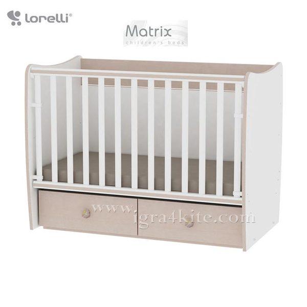 Lorelli - Бебешко легло - люлка MATRIX 60 x 120 см Бяло/Дъб 10150490029A