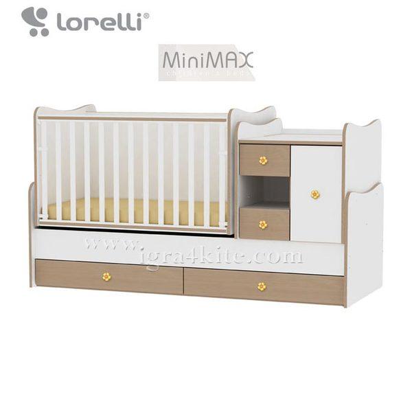 Lorelli - Бебешко легло - люлка MiniMAX 4в1 Бяло/Бук 190 х 72 см