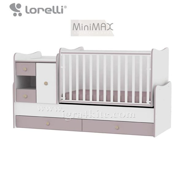 Lorelli - Бебешко легло - люлка MiniMAX 4в1 Бяло/Капучино 190 х 72 см