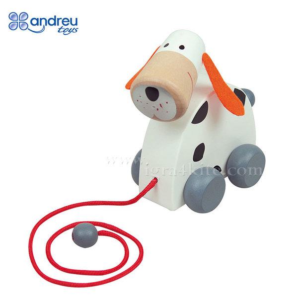 Andreu Toys - Дървена играчка за дърпане Куче 16359