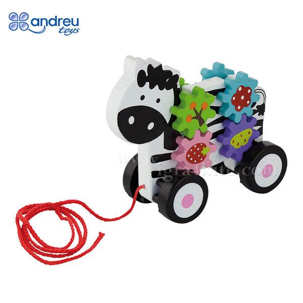 Andreu Toys - Дървена играчка за дърпане Зебра със зъбни колела 16360