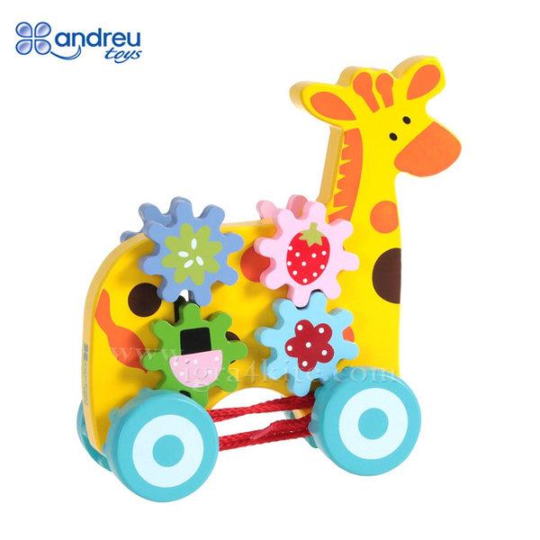 Andreu Toys - Дървена играчка за дърпане Жираф със зъбни колела 16361