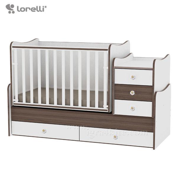 Lorelli - Бебешко легло - люлка MAXI PLUS 4в1 Бяло/Орех