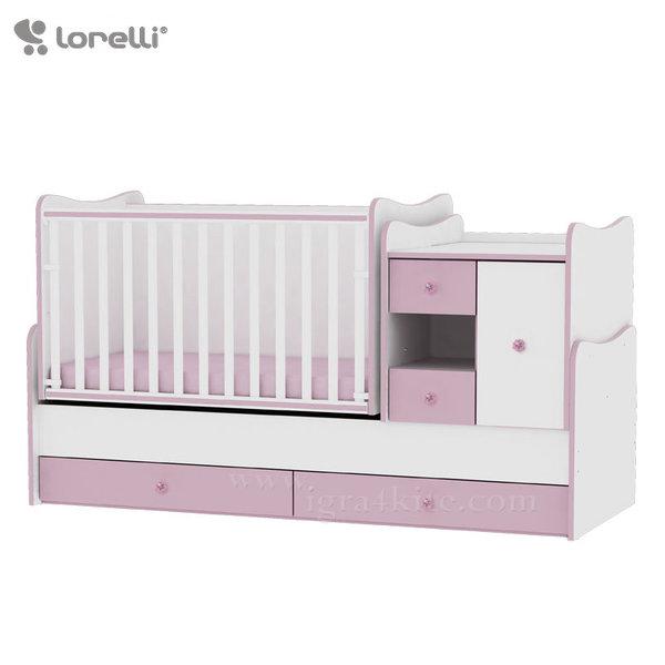 Lorelli - Бебешко легло - люлка MiniMAX 4в1 Бяло/Розово 190 х 72 см