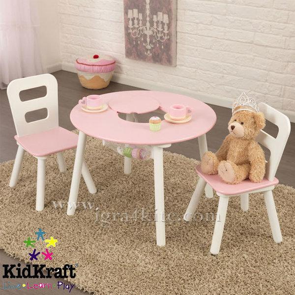 Kidkraft - Детска дървена маса с два стола Pink&White 26165
