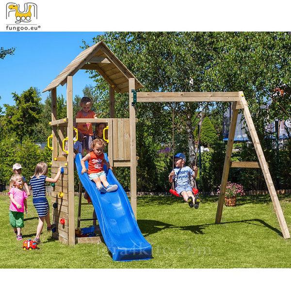 Fungoo - Детска площадка с люлка, пързалка и стена за катерене Carol2 03020
