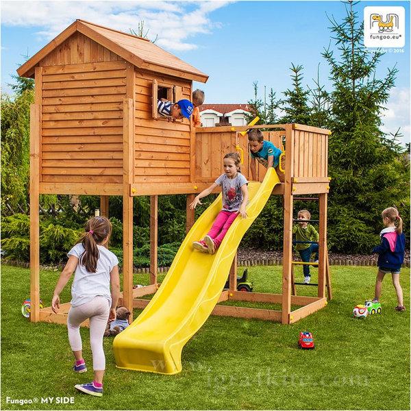 Fungoo - Детска дървена къща с пързалка и стена за катерене My Side 03295