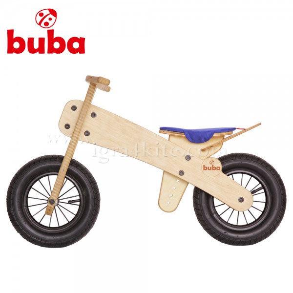 Buba - Детско дървено балансиращо колело Explorer mini синя седалка
