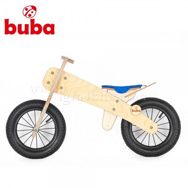 """Buba - Детско дървено балансиращо колело Explorer 12"""" синя седалка"""
