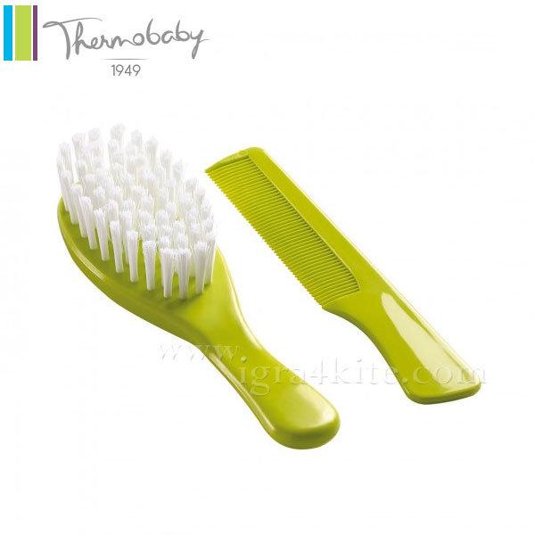Thermobaby - Комплект бебешки гребен и четка за коса зелен