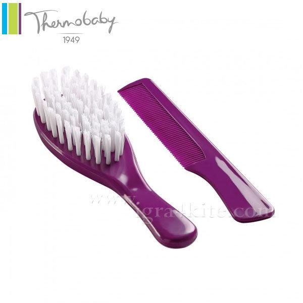 Thermobaby - Комплект бебешки гребен и четка за коса лилав