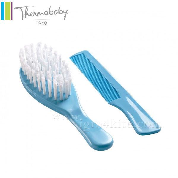 Thermobaby - Комплект бебешки гребен и четка за коса тюркоаз