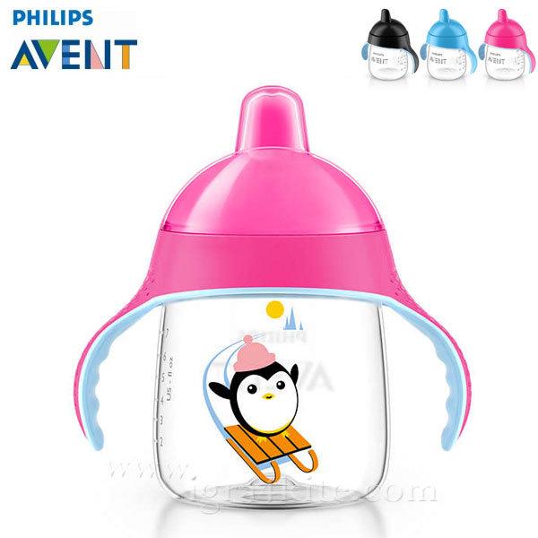 Philips AVENT - Неразливаща се чаша с твърд накрайник 260мл 12м+ 0484 Пингвин розова