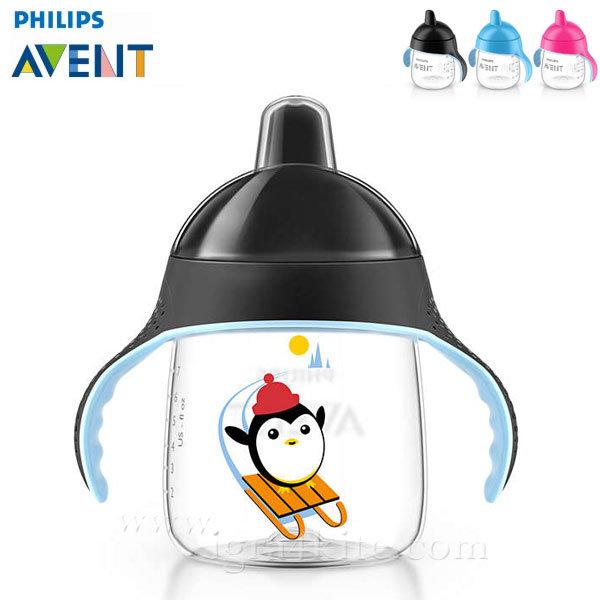 Philips AVENT - Неразливаща се чаша с твърд накрайник 260мл 12м+ 0484 Пингвин черна