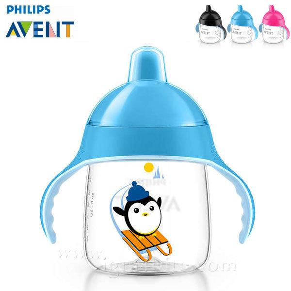 Philips AVENT - Неразливаща се чаша с твърд накрайник 260мл 12м+ 0484 Пингвин синя