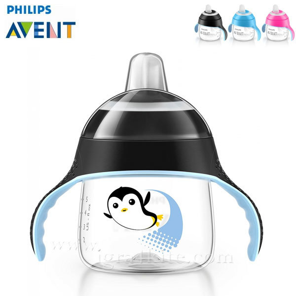 Philips AVENT - Неразливаща се чаша с мек накрайник 200мл 6м+ 0483 Пингвин черна
