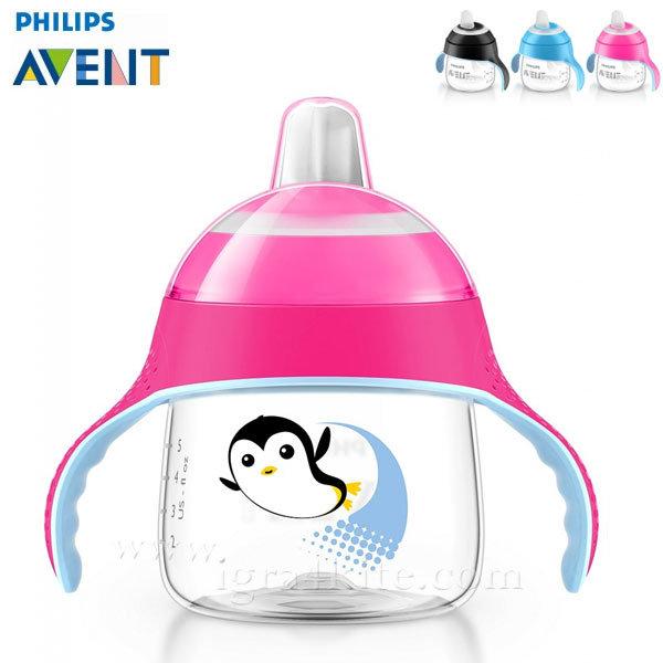 Philips AVENT - Неразливаща се чаша с мек накрайник 200мл 6м+ 0483 Пингвин розова