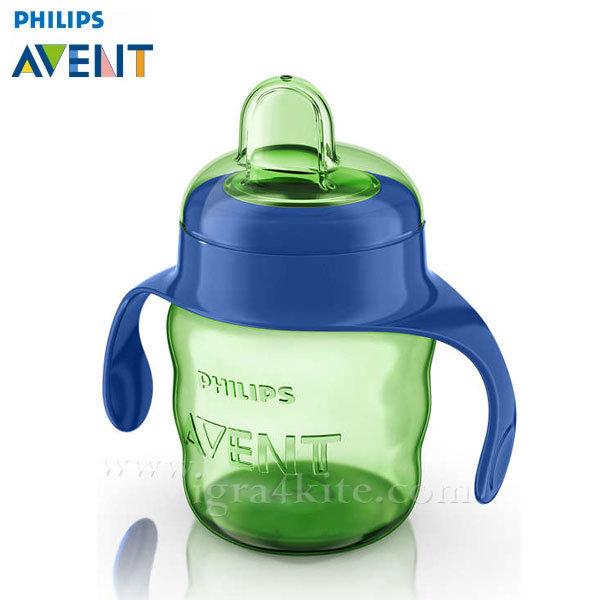 Philips AVENT - Чаша за лесен преход с дръжки, 200мл 6+m 0488 зелена