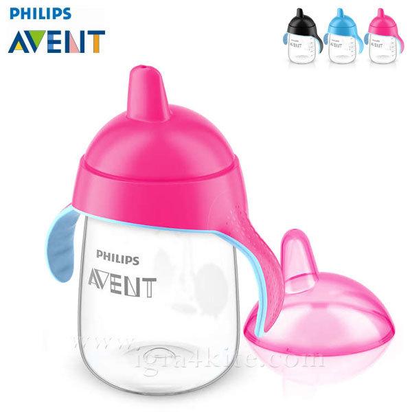 Philips AVENT - Неразливаща се чаша с твърд накрайник 340мл 18м+ 0485 Пингвин розова