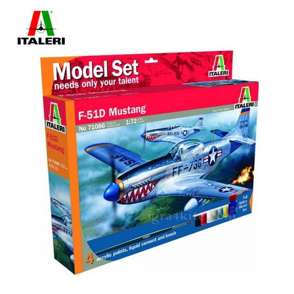 Italeri - Модел за сглобяване самолет F-51D Mustang 71086