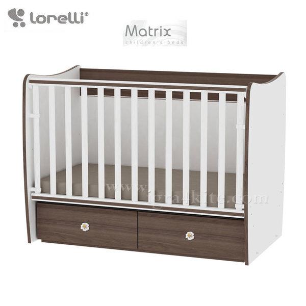 Lorelli - Бебешко легло - люлка MATRIX 60 x 120 см Бяло/Орех