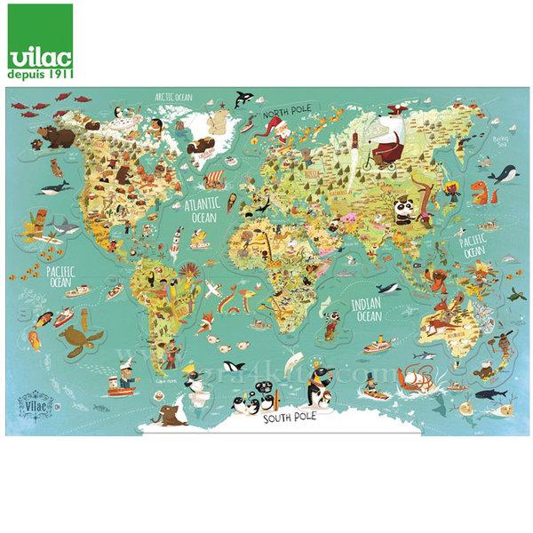 Vilac - Дървена магнитна Карта на света 2728
